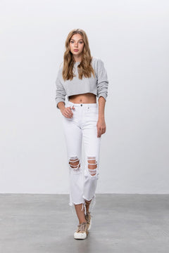 Wicked Trend Destroyed White Straight Jeans