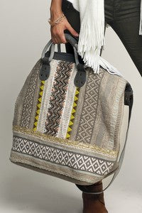 Bohemian Chic Jacquard Boston Bag