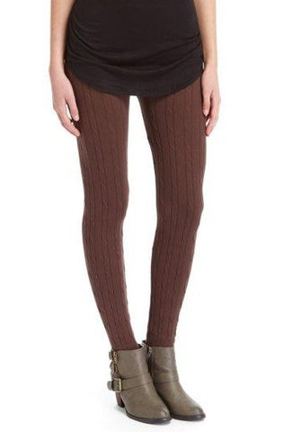 Brown Cable Knit Legging