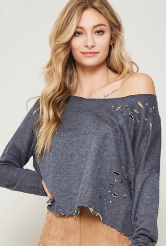 Distressed Studded Pullover