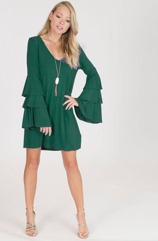 Hunter Green Layered Dress