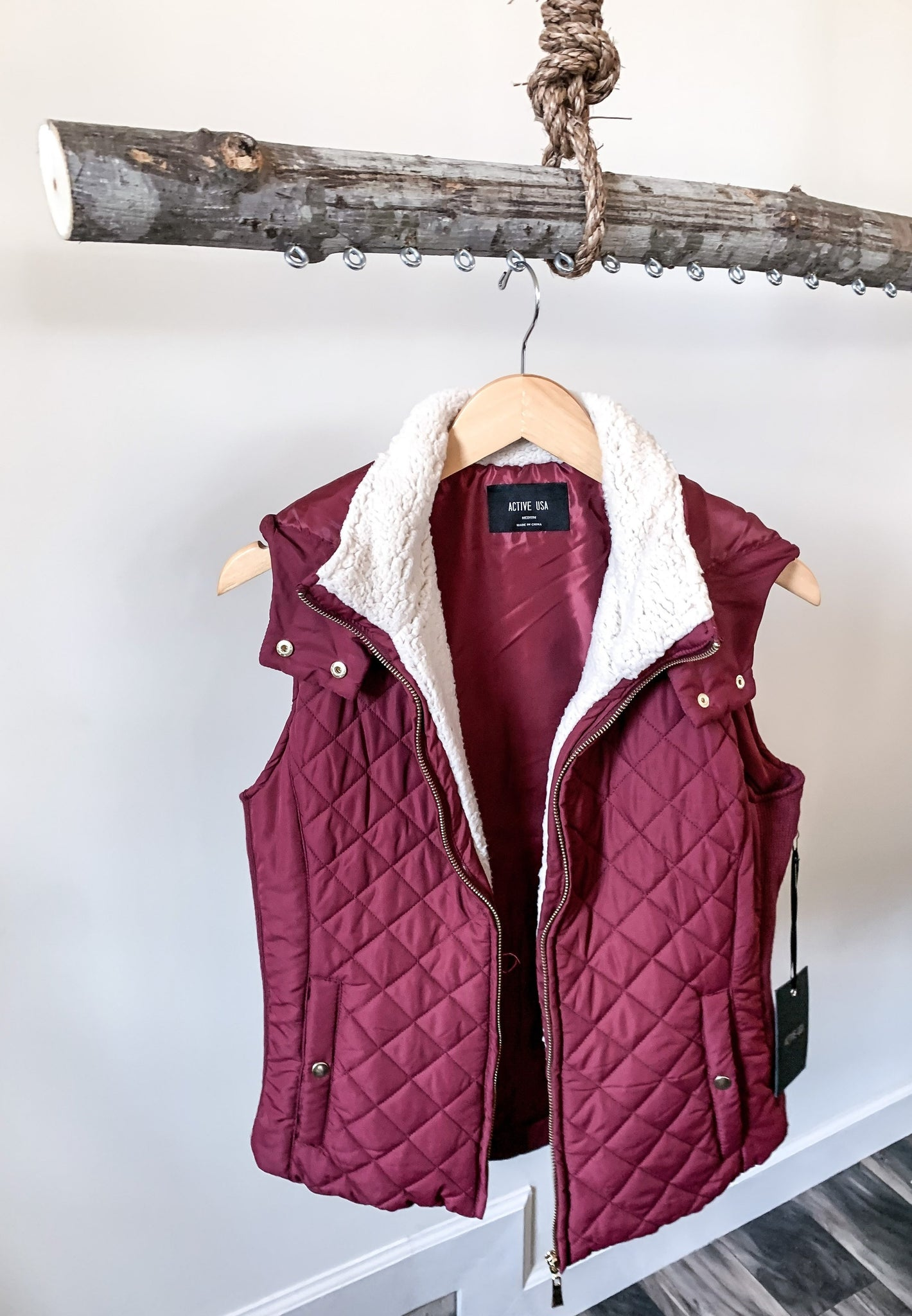 Burgundy Quilted Sherpa Lined Vest