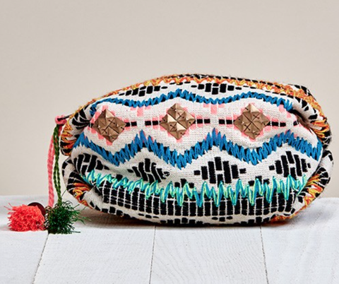 Colorful Jacquard Print Makeup Bag