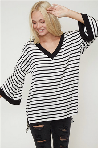 Black and White Striped Bell Sleeve Tunic