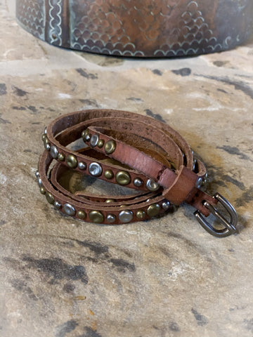 Thin Stud Leather Belt