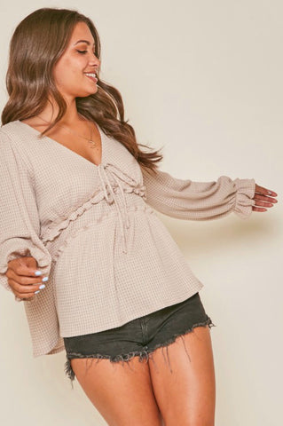 Long Sleeve Waffle Knit Frilled Waist Top
