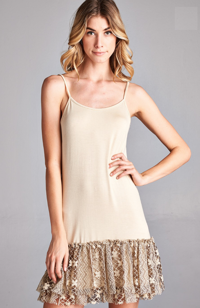 Spaghetti Strap Slip Dress with Gathered Lace Hem