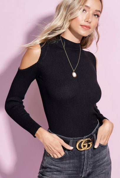 Black Ribbed Cold Shoulder Knit Top