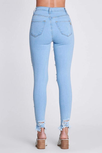 High Waisted Distressed Thigh Raw Hem Skinny