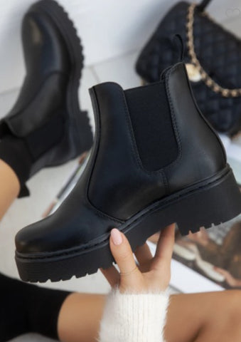Black Chelsea Platform Slip On Boot