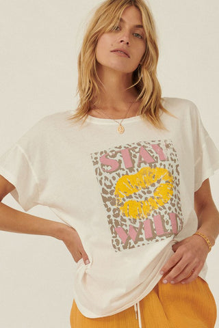 Vintage Style Kiss Stay Wild Graphic Tee