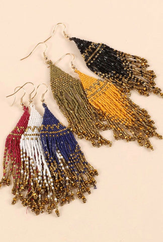 Seed Bead Tassel Earrings