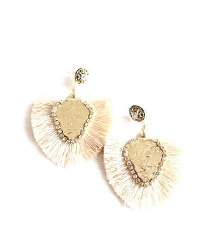 Cream Fringe Lightweight Earring