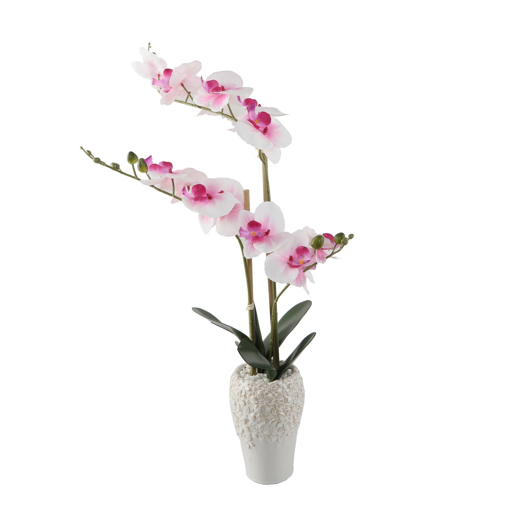 Pink Real-touch Orchid in Ceramic Vase