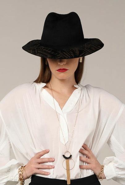 Black Ethnic Panama Hat