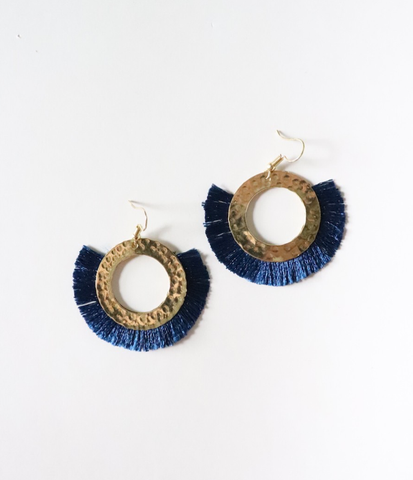 Navy Tassel Earrings