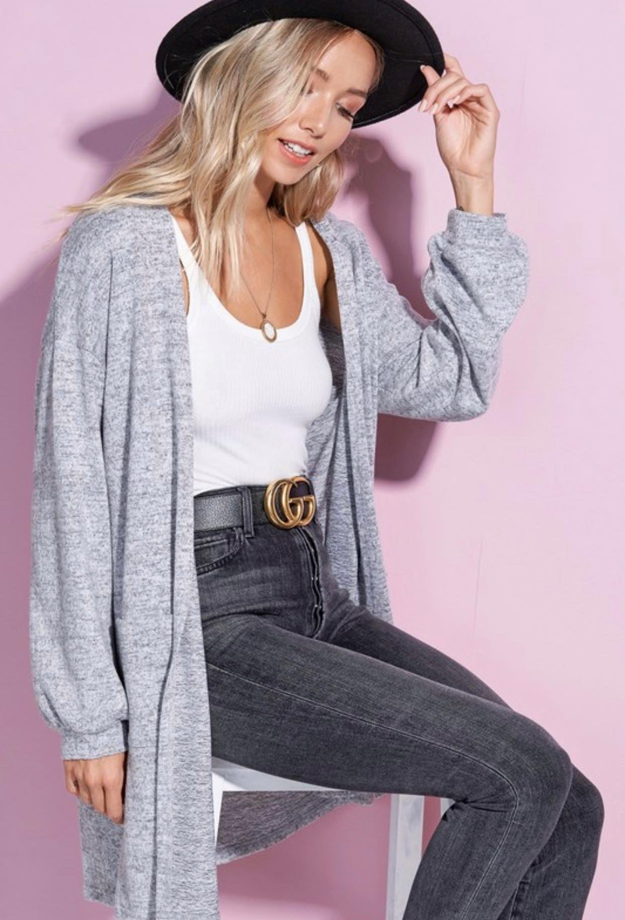 Heathered Button Back Cardigan
