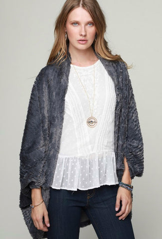 Grey Soft Faux Fur Shurg