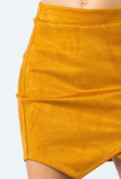 Mustard Faux Suede Mini Skirt