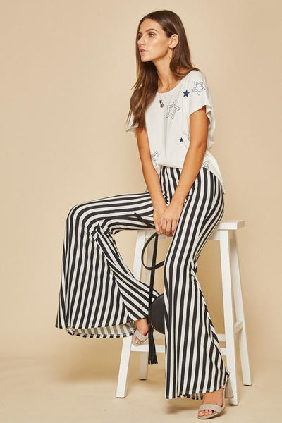 Black & White Striped Bell Bottoms