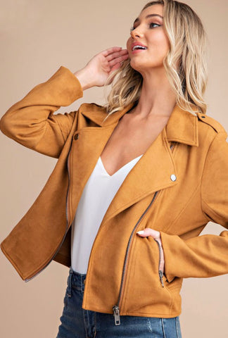Stretch Faux Suede Moto Jacket