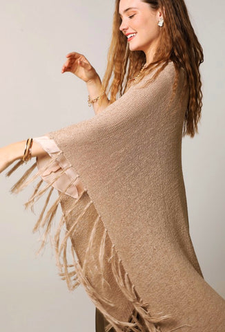 Stretch Knit Fringe Tassel Ruana