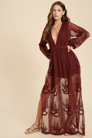 Burgundy Long Sleeve V-neck Lace Maxi Romper
