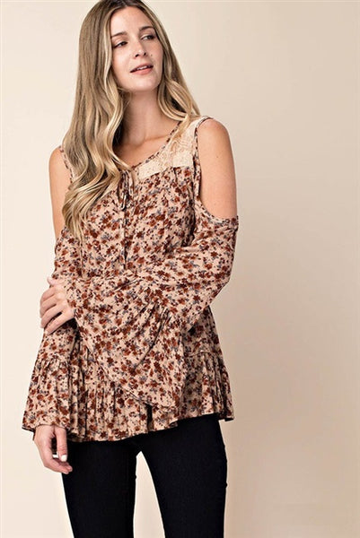 Flower Gauze Cold Shoulder Bell Sleeve Top