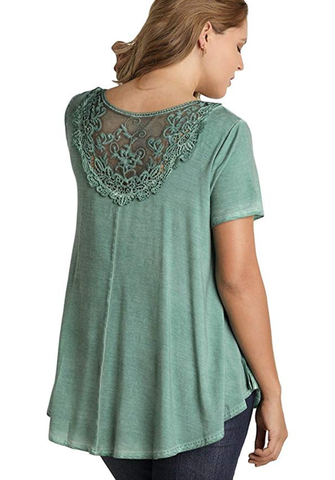 Umgee Jade Crochet Lace Criss Cross Tunic Plus