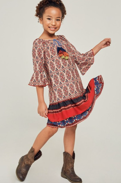 Hayden Printed Bell Sleeve Peasant Dress