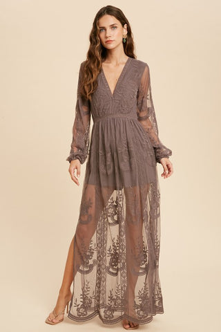 Midnight Long Sleeve V-neck Lace Maxi Romper
