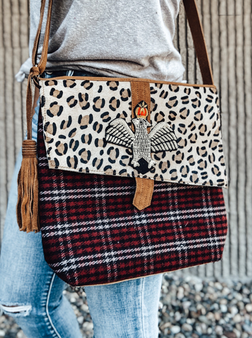 Leopard & Plaid Cross Body Bag