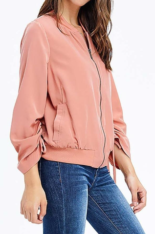 Blush Drawstring Tie Boho Jacket