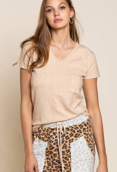 Beige White Two-Toned Distressed V-neck Tee