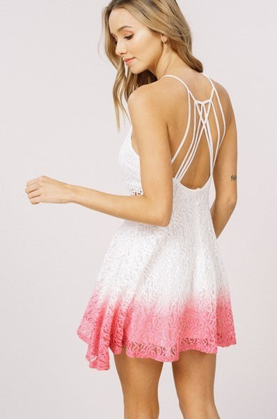 Believe in Love Dip Dyed Ombre Lace  Dress