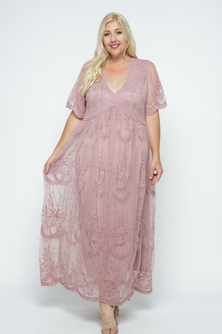Scalloped Hem Lace Maxi Romper