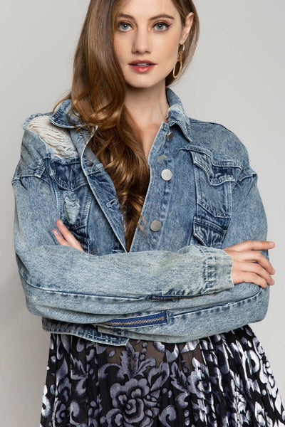 Cropped Hemline Distressed Denim Jacket