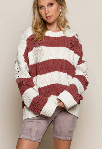 Destroyed Chenille Stripe Sweater