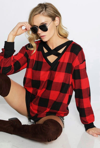 Checkered Holiday Criss Cross Top