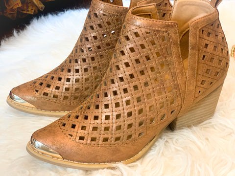 Whiskey Metallic Perforated Side Deep V Cutout Booties