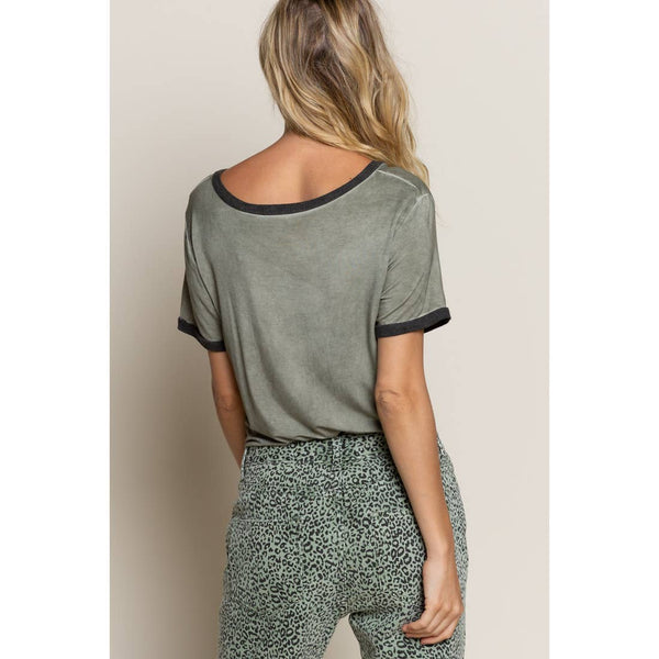 Olive V-Neck Contract Sleeve Ringer Tee