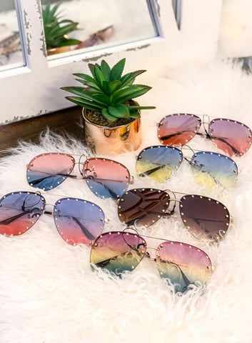 Colorful Tinted Studded Aviator Sunglasses