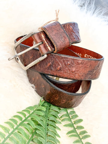 CowboysBelt Textured Cognac Leather Belt