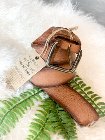 CowboysBelt Two Toned Tan Leather Belt