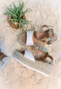 Rose Gold & White Espadrille Sandals