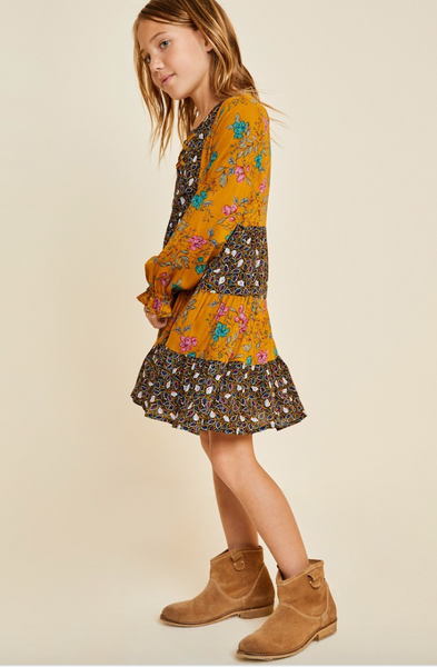 Mustard Floral Lace-Up Peasant Dress