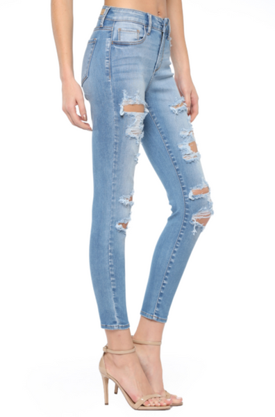 Cello Medium Wash Mid-Rise Distressed Crop Skinny