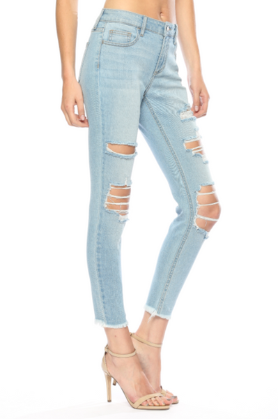 Cello Mid-Rise Distressed Light Crop Skinny