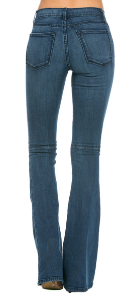 All American Vintage Faded Denim Flare Jeans with Slit Knee