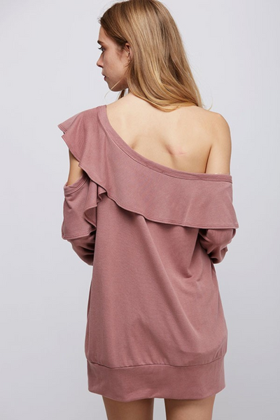Mauve Cold Shoulder Ruffle Silhouette Top